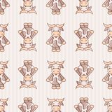 Seamless Ox Chinese Zodiac Vector Pattern vector illustration