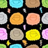 Seamless painted mugs on dark Stock Photo