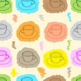 The seamless painted mugs Stock Photo