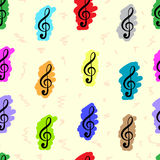 Seamless painted treble clefs Royalty Free Stock Image
