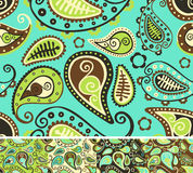 Seamless paisley. Pattern, different color versions Royalty Free Stock Photo