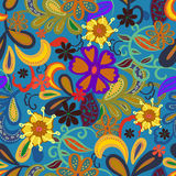 Seamless Paisley background.Colorful flowers and leafs on blue b Stock Photography