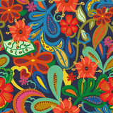 Seamless Paisley background.Colorful flowers and leafs on blue  Royalty Free Stock Photos