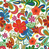 Seamless Paisley background.Colorful flowers and leafs on white. Seamless Paisley background.Colorful flowers and leafs on blue background. Vector illustration Royalty Free Stock Photo