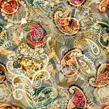 Seamless Paisley background, floral pattern. Colorful ornamental backdrop. Color wallpaper with decorative flowers Stock Images