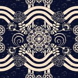 Seamless Paisley background, floral pattern. Blue and white ornamental background. Indian wallpaper. Ethnic backdrop Royalty Free Stock Photo