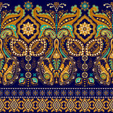 Seamless Paisley background, floral pattern. Colorful ornamental . Indian border ornament Royalty Free Stock Photography