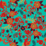 Seamless Paisley background. Flowers and leafs on background. Royalty Free Stock Photo