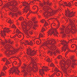 Seamless paisley background of red Christmas colors. Seamless (easy to repeat) paisley pattern background (swatch, wallpaper, tile, print, texture) of red royalty free illustration