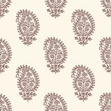 Seamless paisley blockprint pattern. Woodblock printed seamless paisley pattern. Traditional oriental ethnic ornament of India, maroon and gray hues on ecru Royalty Free Stock Images