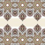 Seamless paisley design, ethnic tribal pattern, fabric Stock Images