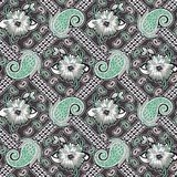Seamless paisley with geometric pattern stock illustration