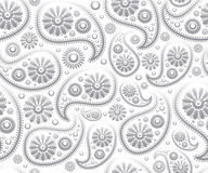 Seamless paisley ornament black white vector floral background Stock Photo