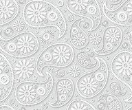 Seamless paisley ornament black white vector floral background Royalty Free Stock Photography