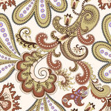 Seamless paisley pattern in beige and burgundy ton Royalty Free Stock Photo