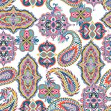 Seamless paisley pattern. Colorful floral ornament. Oriental design for fabric, prints, wrapping paper, card, invitation, wallpape Stock Photos