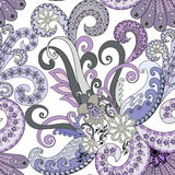 Seamless paisley pattern with decorative swirls in lilac and blu Royalty Free Stock Image