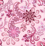 Seamless paisley pattern in pink and burgundy tones Royalty Free Stock Images