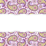 Seamless paisley pattern with torn paper Royalty Free Stock Photo