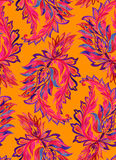 Seamless paisley pattern. watercolor illustration. Seamless paisley pattern. Amazing red pink and orange burning ornaments, intense colors, indian paisley Stock Images