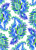 Seamless paisley pattern. watercolor illustration. Seamless blue green paisley pattern. Allover layout, large motives, beautiful colors. Floral stylized motives Stock Photos