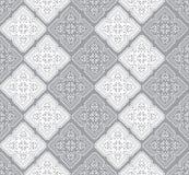 Seamless paisley wallpaper in silver Stock Photos