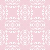 Seamless pale pink pattern with white wallpaper ornaments Royalty Free Stock Photos