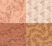 Seamless paleontology patterns with bones Royalty Free Stock Photography