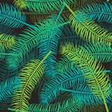 Seamless palm leaves pattern on dark background. Royalty Free Stock Image