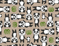 Seamless panda cartoon pattern Stock Photos