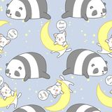 Seamless panda and cat in good night theme pattern. vector illustration