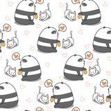 Seamless panda is feeding cat pattern. vector illustration