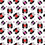 Seamless panda with heart Stock Photo