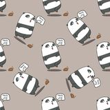 Seamless panda is shocked pattern. vector illustration