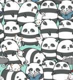 Seamless pandas and cats pattern. stock illustration