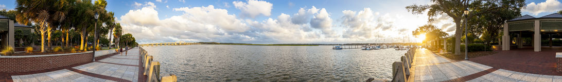Seamless 360 panorama of Beaufort South Carolina Royalty Free Stock Image