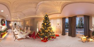 Seamless 360 panorama Christmas interior with a fireplace. 3d illustration of an interior design in a classic style. Christmas interior with a fireplace. 3d Stock Images
