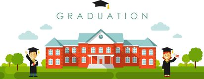 Seamless panoramic background with graduation concept in flat style Royalty Free Stock Images