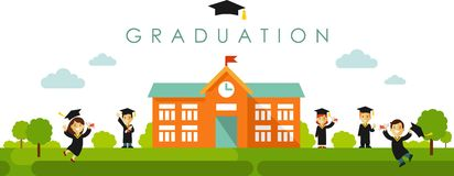 Seamless panoramic background with graduation concept in flat style Royalty Free Stock Image