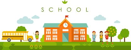 Seamless panoramic background with school building in flat style. Seamless panorama landscape with school building and children in flat style