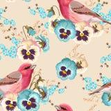 Seamless pansy and bird Royalty Free Stock Photos