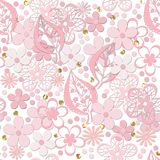 Seamless paper cut lace floral pattern on white. Background Royalty Free Stock Photography