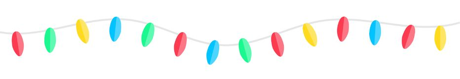 Seamless paper garland banner illustration. Horizontal seamless colorful paper christmas garland banner illustration Stock Photos