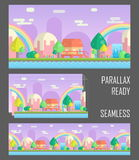 Seamless parallax ready fantasy mountain background. Seamless parallax effect ready fantasy mountain background for mobile apps and design. Sunny bright Stock Photos