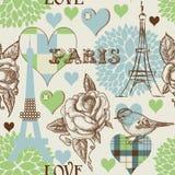 seamless paris modell royaltyfri illustrationer
