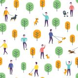 Seamless park pattern. Vector dog walking people Stock Images