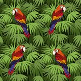 Seamless, Parrot and Leaves Royalty Free Stock Photography