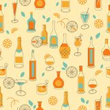 Seamless party background with bottles and glasses Royalty Free Stock Photo