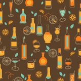 Seamless party background with bottles and glasses Stock Photography