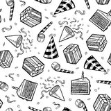 Seamless party or celebration vector background. Doodle style party or celebration objects seamless vector background. Includes presents, noisemakers, party hats Stock Photography
